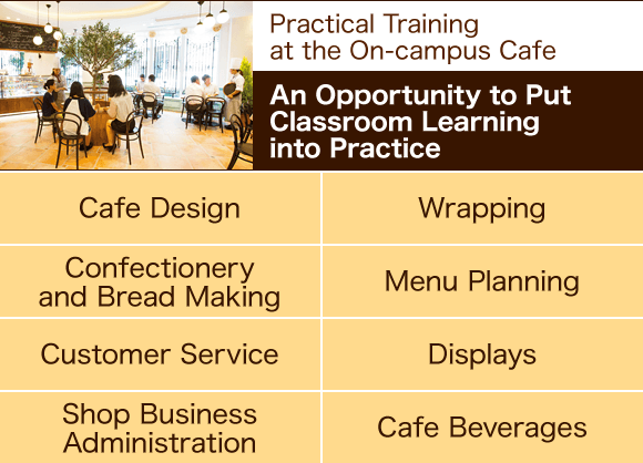 Practical Training at the On-campus Cafe: An Opportunity to Put Classroom Learning into Practice : Cafe Design, Wrapping, Confectionery and Bread Making, Menu Planning, Customer Service, Displays, Shop Business Administration, Cafe Beverages.